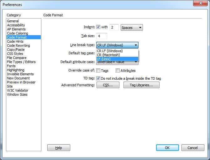 Code Format Options